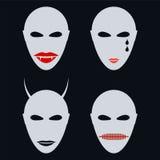 套四张面孔,面具一个抽象样式 库存图片