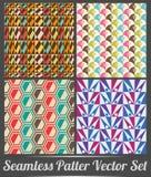 套四无缝的模式五颜六色的样式向量 免版税库存照片