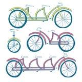 套四辆自行车 单轮脚踏车,三轮车,纵排自行车,自行车 也corel凹道例证向量 免版税图库摄影