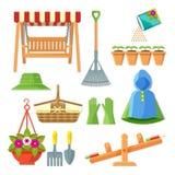 套园艺设备和装饰辅助部件导航例证 向量例证