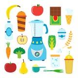 套圆滑的人的平的动画片食物与搅拌器,搅拌器 库存图片