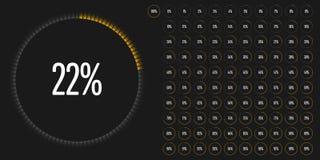 套圈子百分比用图解法表示从0到100 免版税库存照片