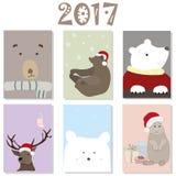 套圣诞卡欢乐柔和的淡色彩 免版税图库摄影