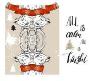 套圣诞快乐新年好2017年金子设计与鹿元素 xmas贺卡的理想,假日 图库摄影