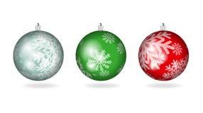套圣诞节五颜六色的球 库存例证