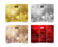 套圣诞节传染媒介小册子设计模板 免版税库存图片