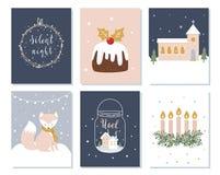 套圣诞节和寒假卡片 出现花圈、教会和字法标志 也corel凹道例证向量 库存图片