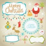 套圣诞节和新年度要素 免版税库存照片