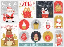 套圣诞节和新年标签和卡片 免版税图库摄影