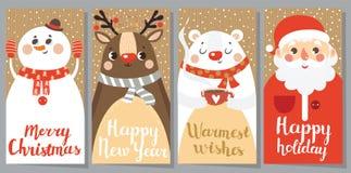 套圣诞节和新年贺卡 免版税图库摄影