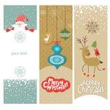 套圣诞节和新年度横幅 库存照片