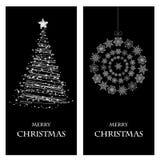 套圣诞节和新年横幅 库存照片