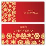 套圣诞节和新年横幅 免版税库存照片