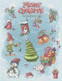 套圣诞节和新年欢乐项目和字符 免版税库存照片