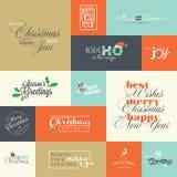 套圣诞节和新年的平的设计元素贺卡 免版税库存图片