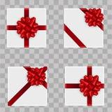 套圣诞节在透明背景的礼物盒 顶视图 向量 免版税库存照片