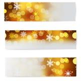 套圣诞节水平的横幅。 免版税图库摄影