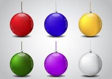 套圣诞节球传染媒介例证 免版税库存照片