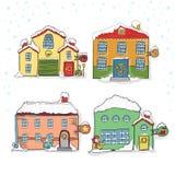 套圣诞节的冬天房子 免版税图库摄影