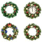 套圣诞节的花圈 免版税库存图片