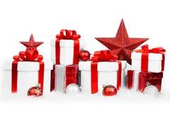 套圣诞节礼物盒 免版税库存照片