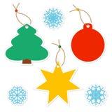 套圣诞节简单的纸标记 库存例证
