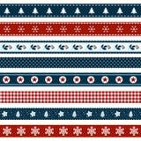 套圣诞节装饰了丝带 免版税库存照片