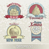 套圣诞节象征和设计 图库摄影