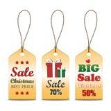 套圣诞节销售标记,可能为您的事务或促进使用 免版税库存图片