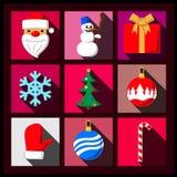 套圣诞节长的阴影平的象 免版税库存照片