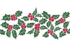 套圣诞节霍莉叶子 绿色叶子和红色莓果的无缝的样式 皇族释放例证