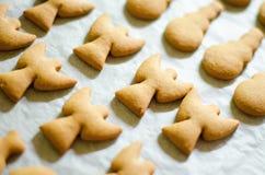 套圣诞节题材塑造了在白色烹调纸背景的曲奇饼 Ange、雪人和鱼 免版税库存图片