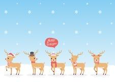 套圣诞节驯鹿 免版税库存照片