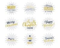 套圣诞节,新年2017年字法、愿望、说法和葡萄酒标签 季节` s问候书法 节假日 免版税库存照片