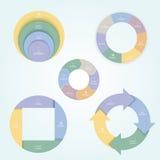 套在一个平的样式的5张圆图与膝上型计算机,机动性,桌面,片剂象  免版税库存图片