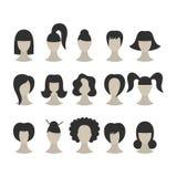 套在丝毫隔绝的妇女的黑发型 库存例证