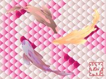 套在全国东方样式,多彩多姿的鱼鳞Koi背景的鱼鲤鱼Koi  皇族释放例证