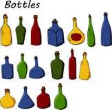 套在动画片样式的瓶 在白色背景隔绝的手拉的例证 向量例证