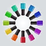 套在圈子形状的不同的颜色指甲油botthes 免版税库存照片