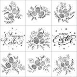 套在复活节快乐和装饰鸡蛋上写字 库存照片
