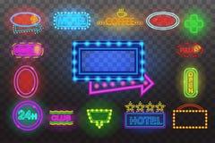 套在夜透明背景传染媒介例证,明亮的发光的电advertis的霓虹灯广告光 免版税图库摄影
