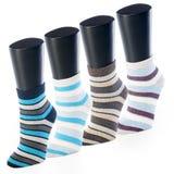 套在小条的色的袜子在体育的时装模特在白色背景 免版税库存照片