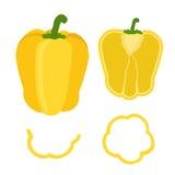 套在平的样式的切的黄色喇叭花胡椒 免版税库存照片