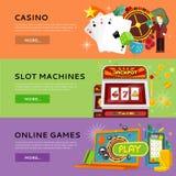 套在平的设计的赌博的传染媒介横幅 免版税库存照片
