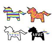 套在彩虹背景的正面五颜六色的剪影独角兽贴纸 独角兽贴纸,补丁徽章 库存例证