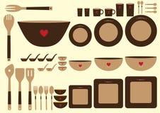 套在棕色背景的逗人喜爱的厨具,传染媒介 免版税库存照片