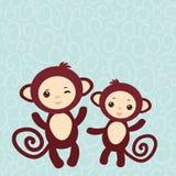 套在浅兰的背景的滑稽的棕色猴子 库存图片