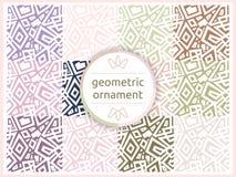 套在淡色柔和的口气的几何样式 无缝的样式,背景,纹理 背景盘旋橙色装饰品正方形向量 装饰瓦片 免版税库存照片
