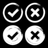 套在深黑色背景的白色校验标志象 向量例证