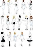 套在白色燕尾服的十六个时装模特 免版税库存图片